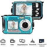 MUSSON Unterwasserkamera, 1080P Full HD Digitalkamera Wasserdicht 24 MP Videorecorder Selfie Camcorder Kamera Dual Screen DV zum Schnorcheln für Reisen Strand Ozean Urlaub Strand Sommer CE26