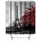 fourHeart Anti-Schimmel Duschvorhang - 180x200cm - Anti-Bakteriell, waschbar, mit 12 Duschvorhangringen, 100 % Polyester - Blumen und Turm