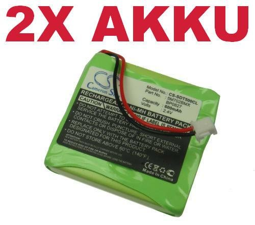 Twin Telefon (2x Hochleistungs Ni-MH Akku 2,4V 500mAh für BT Verve 450 410 SMS black red single twin treo quad iDECT S2 S2i S-2 Tevion MD81877 MD-81877 Vtech VT1100 VT2020 VT-1100 VT-2020 1&1 Multiphone by 1und1)