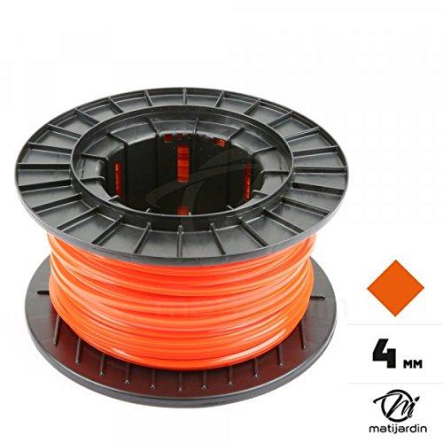 Fil débroussailleuse nylon 4 mm x 50 m carré rouge/orange bobine - Pièce neuve