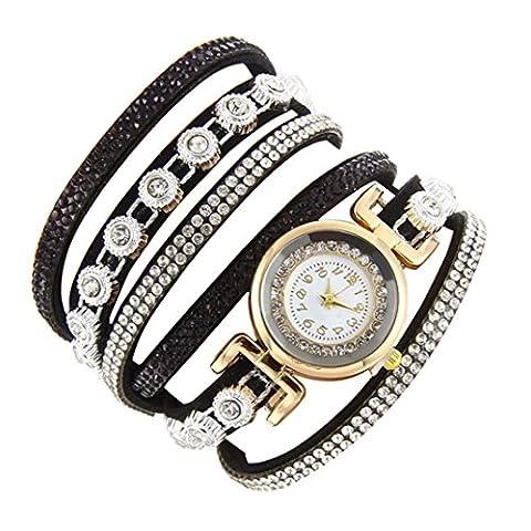 Minshao Mode Multi couches simili cuir Band Bracelet à quartz Strass Montre-bracelet pour coffret cadeau pour femme noir