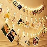 Cookey LED Foto Clip Cuerda Luces - 40 Foto Clips USB de 5M Luces de Imagen LED para la Decoración Colgante Foto, Notas, Ilustraciones