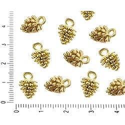 4pcs Mate Cepillado Chapado en Oro Encanto de Pino de Cono Colgante de Joyería de Metal Resultados de 9mm
