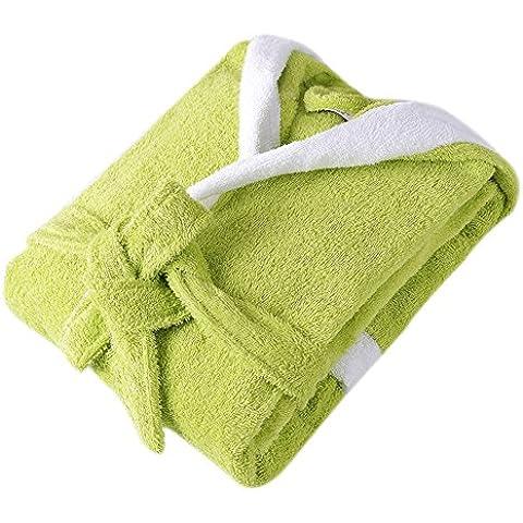 SaiDeng Bebé Albornoz Pijamas Con Capucha De Baño Para Niños Y Niñas Verde M
