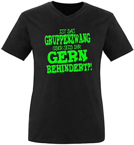 EZYshirt® Ist das Gruppenzwang oder seid ihr gern behindert Herren V-Neck T-Shirt Schwarz/Neongrün