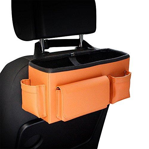 Car Seat Organizer, Pushingbest Car Back Seat Multi-Pockets Leather Waterproof Travel Storage Bag Cup Holder (Multi Pocket)