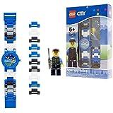 LEGO City 8020028 Orologio da Polso Componibile per Bambini con Cinturino a Maglie e Minifigure Agente Speciale, per Bambini, Blu/Bianco, Quarzo Analogico