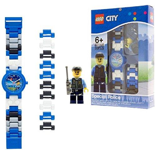 Reloj modificable infantil de policía especial de Lego City con pulsera por piezas y figurita; azul/negro; plástico; 28 mm de diámetro; Cuarzo analógico| chico chica; oficial