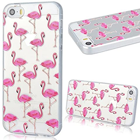 GrandEver Coque iPhone 5 / 5s / SE Transparente Silicone Gel avec Souple Fine Rose Flamant Flamingo Design Bumper Utra Mice Soft Doux Flexible Case Etui Cover Housse pour iPhone 5 5s SE