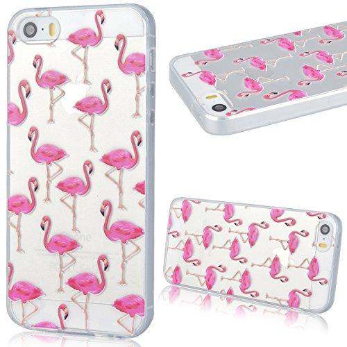 GrandEver Coque iPhone 5 / 5s / SE Transparente Silicone Gel avec Souple Fine Rose Flamant Flamingo Design Bumper Utra Mice Soft Doux Flexible Case Etui Cover Housse pour iPhone 5 5s SE