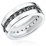 Rafaela Donata Damen-Ring 925 Sterling Silber Zirkonia schwarz - Moderner Silberring in Memoire-Form mit Steinen 60800107