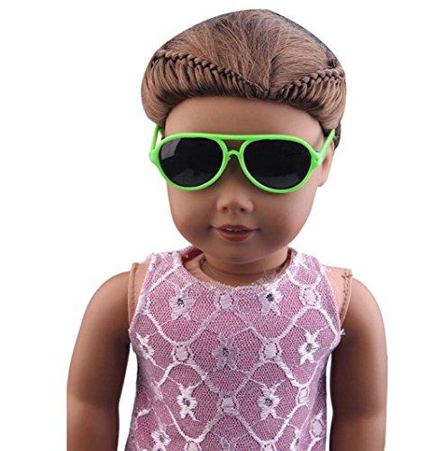 Omiky Stilvolle Kunststoffrahmen Gläser Sonnenbrille für 18-Zoll-American Girl Doll (Grün)