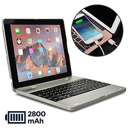 iPad 2 3 4 Hülle mit Tastatur, Cooper Kai SKEL P1 Bluetooth kabellose Tastatur tragbar Laptop MacBook Klappgehäuse Hülle wiederaufladbare Batterie Power Bank (Silber)