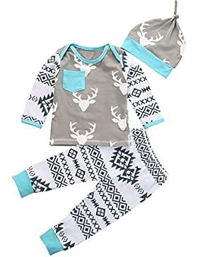 Saingace Jugendliche Baby-Mädchen-Jungen-Kleidung Weihnachten Deer Romper + Pant Hut Outfit Set Kinderkleidung...