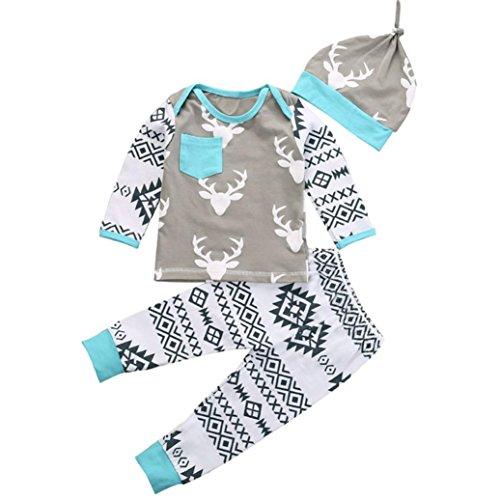 Saingace Jugendliche Baby-Mädchen-Jungen-Kleidung Weihnachten Deer Romper + Pant Hut Outfit Set Kinderkleidung Kleidung Outfits Bekleidungssets bekleidungssets (90)
