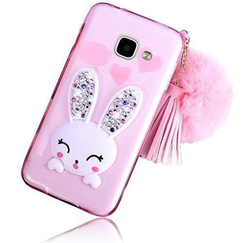 Sunroyal Samsung Galaxy A3 (2016 Version) SM-A310F Cover 3D Lovely Coniglio Custodia in Silicone Foldable Bunny Ear Case Trasparente Rabbit Soft Morbido TPU Bumper Protettiva Cassa con Orecchio Suppor Modello 04