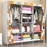 Armadio GX Multifunzione Simple Double People Guardaroba, Modern Minimalist Rental Room Dormitorio Economico Antipolvere in Acciaio Tubo Bold Storage Cabinet (Colore : Plaid)