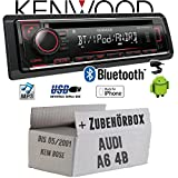 Audi A6 4b bis 2001 - Autoradio Radio Kenwood KDC-BT520U - Bluetooth CD/MP3/USB - Einbauzubehör - Einbauset