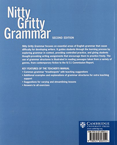 Nitty Gritty Grammar Teacher's Manual: Sentence Essentials for Writers