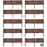 Floranica 10 x Beeteinfassung aus Weide, 25 Größen, imprägniert und Buchepflöcke für längere Haltbarkeit, Steckzaun, Weidenzaun, Länge:100 cm, Höhe:20 cm
