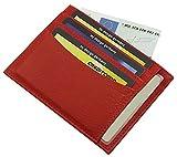 Extra Flaches XL Leder Ausweis- und Kreditkartenetui KFZ-Schein MJ-Design-Germany in Kalb-, Büffel- oder gegerbtem Rinderleder in verschiedenen Farben (Kalb Rot)