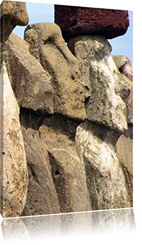Osterinseln Statuen Detailansicht , Format: 80x120 auf hochkantiges Leinwand, XXL riesige Bilder fertig gerahmt mit Keilrahmen, Kunstdruck auf Wandbild mit Rahmen, günstiger als Gemälde oder Ölbild, kein Poster oder Plakat -