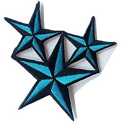 """Toppe termoadesive toppa per jeans stoffa cucito bambini patch ricamata ricamate adesiva applicazioni termoadesive """" Triple Star 8.2 x 8.2 cm"""""""
