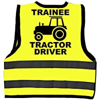 Trainee Tractor Driver Baby/Children/Kids Hi Vis Safety Jacket/Vest Sizes 0 to 8 Years Optional Personalised On Front