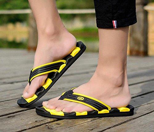 SHIXR Pantoufles Open Back pour Homme 2017 Summer Nouveaux Caractères Flip Wave Type Pantoufles Anti-Skid Pantoufles Sandales black yellow