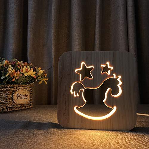 Bedoo 3D Holz LED Nachtlichter, Illusion Trojan Horse Lampe zum Schlafen Beleuchtung Cute Halloween Geburtstagsgeschenk Creative House Schlafzimmer Erwärmung Dekorationen Ideal Handwerk
