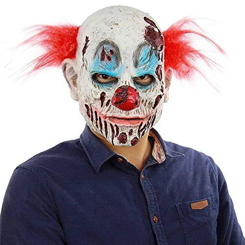 Kostüm Schlechte Blut - Kuletieas Scary Evil Clown Maske, Double Face Latex Maske Halloween Kostüm Maske (Blut) Clown mit Haaren für Erwachsene Masken@Schlechter Kopfclown