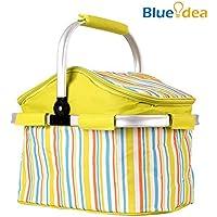 Blueidea® Cestini da Picnic Bagagli Cestello Telaio in Alluminio Pieghevole di Acquisto Pieghevole del Cestino Con del Ghiaccio