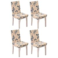 KING DO WAY Set of 4 Removable Stretch Slipcovers Short Dining Room Chair Seat Cover Wedding Party Blue Butterfly
