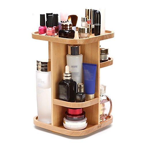 étui cosmétique Wood Cosmetics Rack Rotatable Makeup Organizer Case Creative Double-Deck Storage ( conception : Carré )