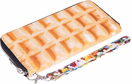 Fullprint Geldbörse Waffel Waffle Food Pancake Print Hand Schlaufe Und Reißverschluss Clutch Portemonnaie Handtasche All Over Voll Bedruckt Damen Fashion Festival Trend