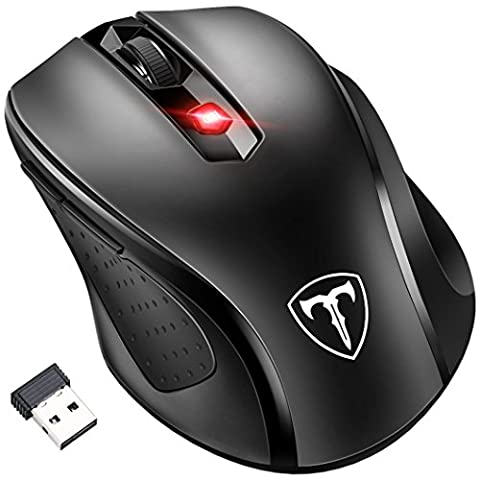 [Updated Version] Wireless Mouse, Patuoxun 2.4G USB Wireless Mice Optical PC Laptop Computer Mouse with Nano Receiver, 6 Buttons, 2400 DPI 5 Adjustment Levels for Windows Mac Macbook Linux - Super Energey Saving