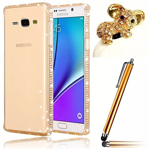 Vandot 3en1 Set de Luxe Glitter Diamant Bumper Silicone Transparent Retour Cover Premium Exclusif Bling étoile Gloss Coque de Protection Pattern pour Samsung Galaxy Grand Prime SM-G530FZ Perfect Fit Souple TPU Etui Housse Case + Koala anti poussière Plug + Stylet - OR