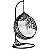 Yaheetech Black Rattan Hanging Swing Chair Patio Garden Chair with Stand,Cushion and Cover in or Outdoor,150kg Capacity