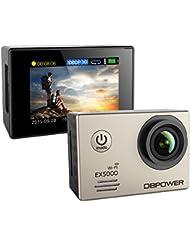 DBPOWER Cámara original deportivas Action Camera a prueba de agua EX5000 WIFI 14MP FHD con 2 baterías mejoradas y accesorios(Plata)