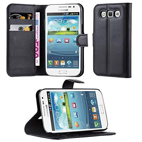 Cadorabo Hülle kompatibel mit Samsung Galaxy Win Hülle in Phantom SCHWARZ Handyhülle mit Kartenfach und Standfunktion Schutzhülle Etui Tasche