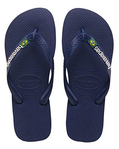 Havaianas Brasil Logo, Sandales Bout Ouvert Mixte Adulte blanc - marine