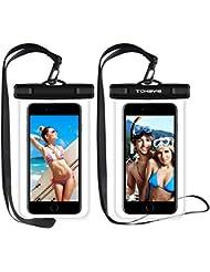 Funda Impermeable, Tohayie Funda Sumergible Móvil IPX8 para Móvil Universal,Touch sensible Windows transparente para iPhone 7 / 6s / 6s plus / 5 / 5s / SE y otros Smartphone para paseos en bote / senderismo / natación / buceo(2 paquetes)