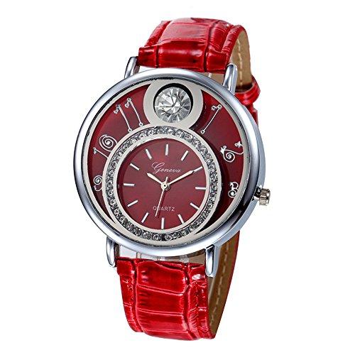 Swallowuk Damen-Diamant-Uhr, Herren Outdoor-Sport-Quarzuhr (rot)