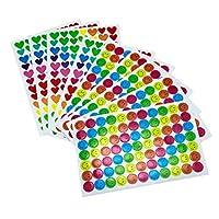 Fodlon 10 Sheet 800 Pcs Smiley Happy Face Stickers and Smiley Heart Stickers for Teachers,Parents Kids Craft Scrap Books Decoration, Multi Color