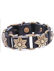 SUYA pulseras,Remaches de piel de becerro, pulsera, pulsera de cuero, accesorios de forma de flor, pulsera antigua, joyas retro , black
