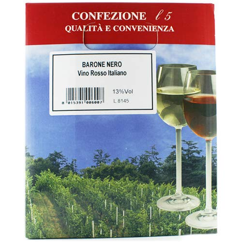 Parolvini \'Barone Nero Vino Rosso Italiano\', Rotwein Bag in Box BiB, 5 Liter