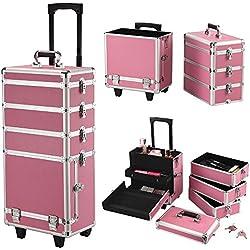Yaheetech Kosmetikkoffer Multikoffer Schmuckkoffer Schminkkoffer Friseurkoffer, 4 in 1 Pink