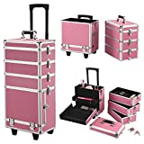 Yaheetech Alu Beauty Case Rollkoffer 4 in 1 Kosmetikkoffer Schminkkoffer Make-up Friseur Kosmetikkoffer in Pink