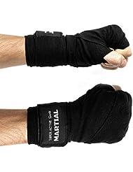 Profi bandes de boxe de compétition - 4,50 m-coton de qualité-& élasthanne-parleurs, les entraînement de boxe mMA, sac de frappe de boxe, sac de sable noir 4,5 m-durable-bandage - 2 ans de gARANTIE