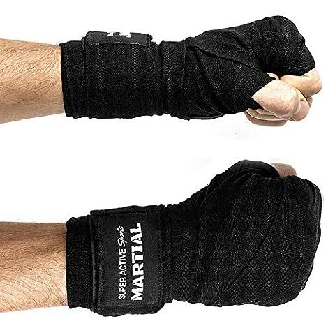 Boxbandagen von MARTIAL mit bestem Klett und Daumenschlaufe. Bandagen ohne Ausleiern für MMA, Boxen, Kickboxen & Sparring! Handgelenkbandage schwarz, optimale Schweißaufnahme und
